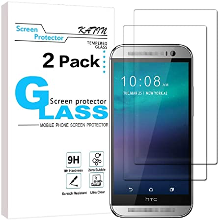 HTC One M8 Screen Protector   KATIN [2 Pack] 9H Premium Tempered Glass Screen guards