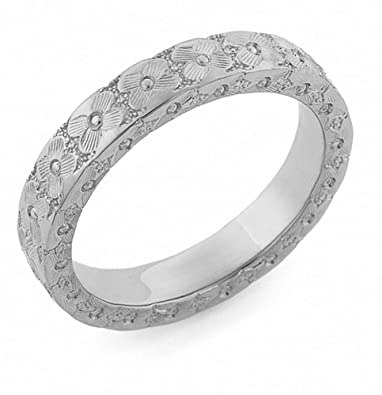 Floral Wedding Band | Amazon Com Platinum Hand Carved Flower Wedding Band Ring Jewelry