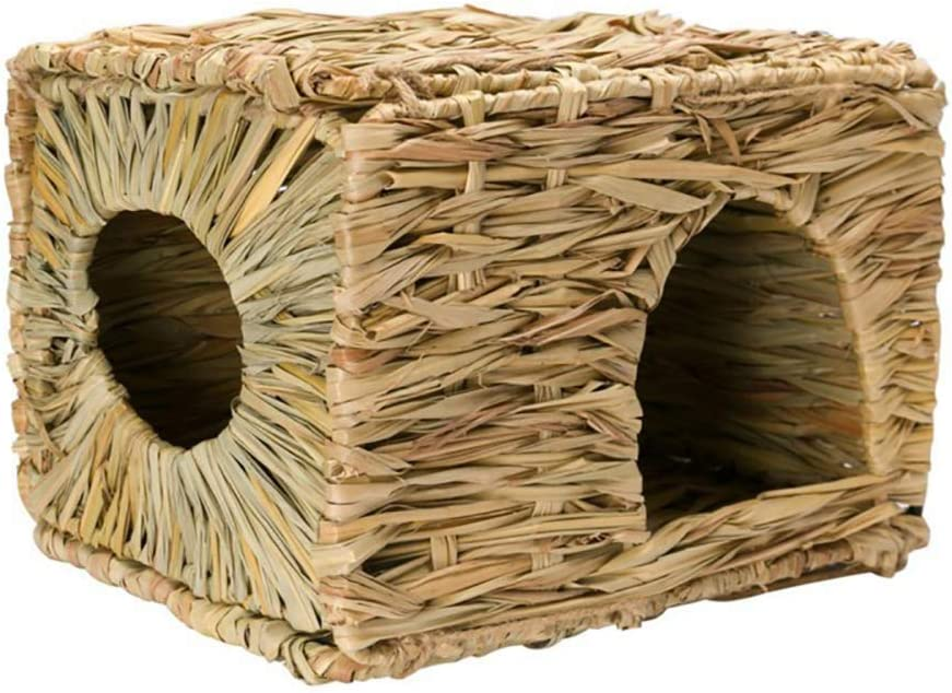 Hihey Animal pequeño Animal Casitas de Campo para Mascotas Cuevas Casa Jaulas Cama de Hierba Ratas Tejido a Mano Jaula Plegable Cama de Animal pequeño Hamster