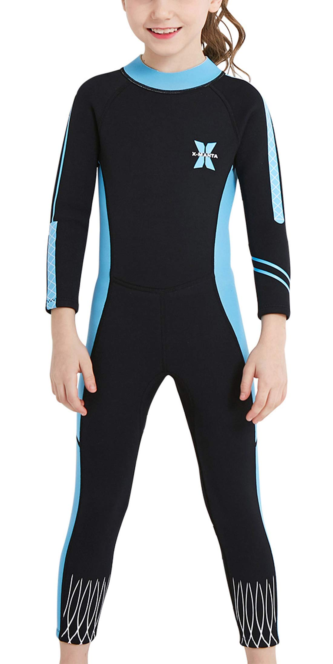 DIVE & SAIL Girls Long Sleeve Wetsuit Thermal Warm One Piece Swimsuit UPF 50+ Sun Protection Soft Swimwear Black M