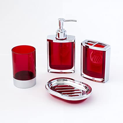 Amazoncom Justnile 4 Piece Vogue Translucent Red And Chrome