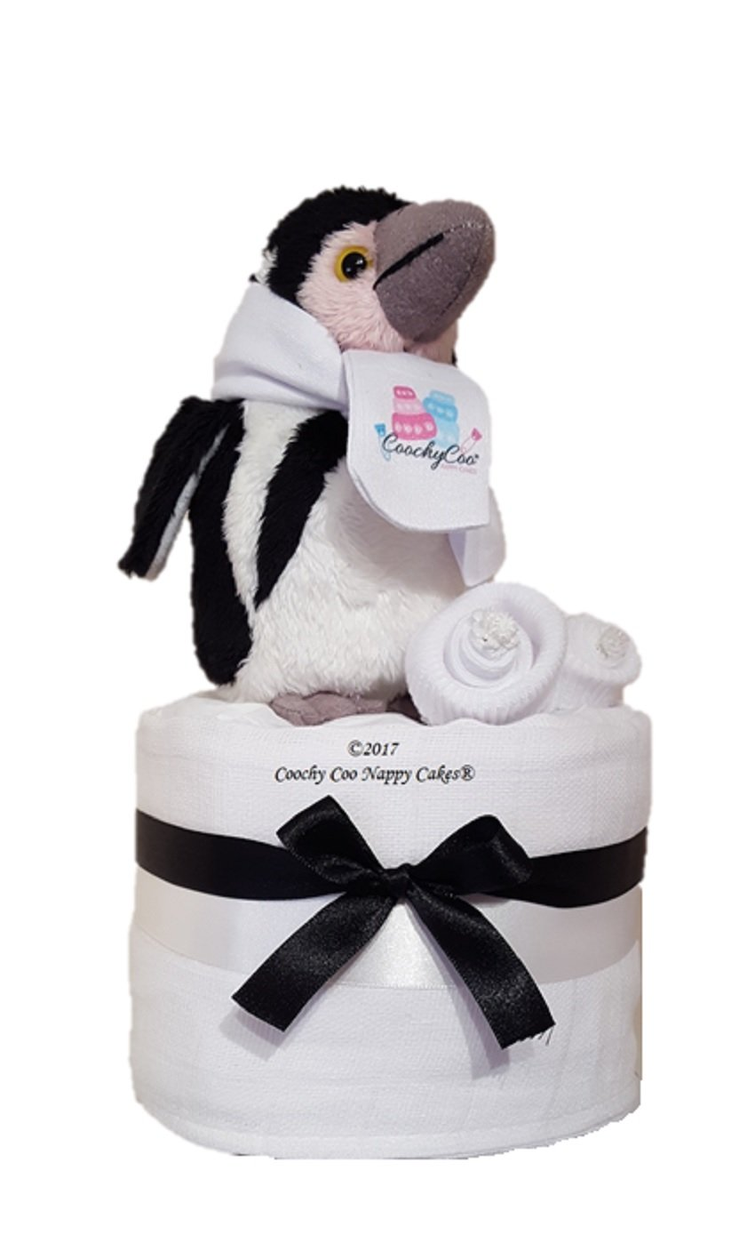 Mini Penguin Unisex Nappy Cake Baby Gift - FAST AND FREE Delivery Coochy Coo Nappy Cakes Ltd®