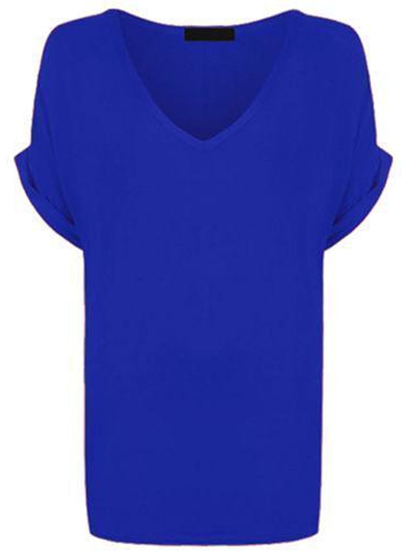 Re Tech UK - Camiseta Ancha para Mujer - Cuello de Pico y Manga murciélago con Vuelta - Estilo Informal y Holgado - Tallas UK 8-26/EU 36-54