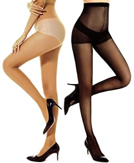 41d1c0ed92f DancMolly 2 Pair Semi Sheer Pantyhose Control Top Shaping Tights Push Up Silk  Stockings for Womens