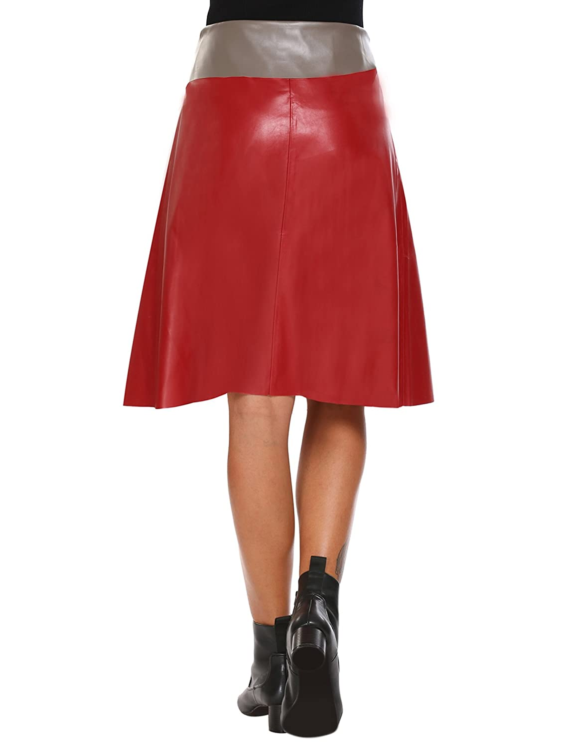 1a91e01b94483 Zeagoo Women Leather Skirt High Waisted A-Line Wrap Midi Skirts at Amazon  Women s Clothing store