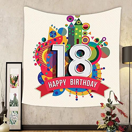 Gzhihine Custom tapestry 18th Birthday Decoration Tapestry Cartoon Soccer Jersey Seem Bold 18 Number Party Art Print for Bedroom Living Room Dorm Black and White by Gzhihine
