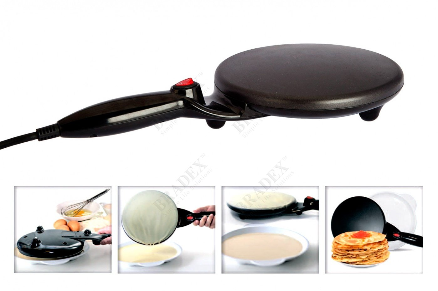 Bradex Crepes Electric Maker Griddle Non-stick Coating For Pancakes Blintzes Eggs & More 7.5inch with Container for the Dough (tk0237)