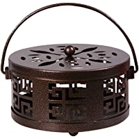 Whiidoom Metal Mosquito Coil Holder with Handle Portable Coil Incense Burner for Home Garden Decorate (Bronze)
