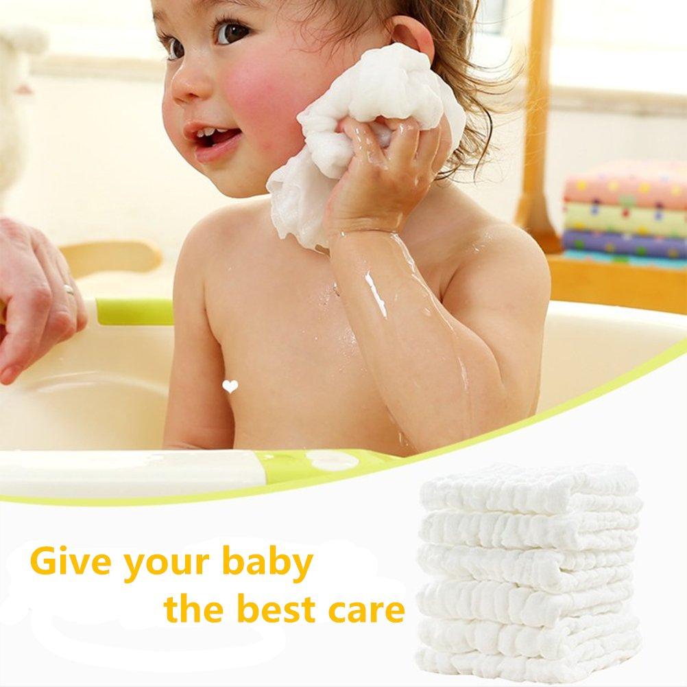 Paños blancos para bebé – toallitas húmedas de algodón orgánico natural – Suave toallita para rostro y paño de limpieza para piel sensible para bebé recién ...