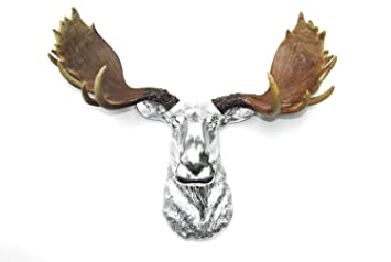 Amazoncom Faux Taxidermy Chrome Moose Head With Natural - Moose wall decor