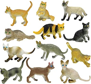 YeahiBaby 12 unids Figuras de Gatos Juguetes para Gatos Surtidos Figuras de Animales en Miniatura Kitty Paisaje Ornamento Decoraciones Gato Chica Figuras de Juguete para niños Niños Chicas Niños: Amazon.es: Juguetes y