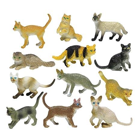 YeahiBaby 12 unids Figuras de Gatos Juguetes para Gatos Surtidos Figuras de Animales en Miniatura Kitty