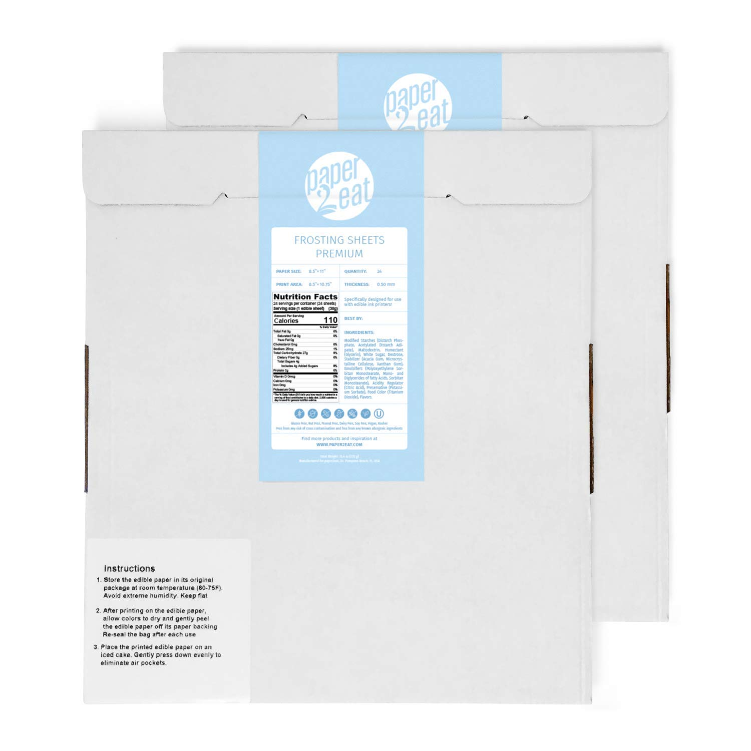 12 to 48 count Lucks Print Ons Edible Paper Print-Ons  Sheets  8.5 x 11 Inch