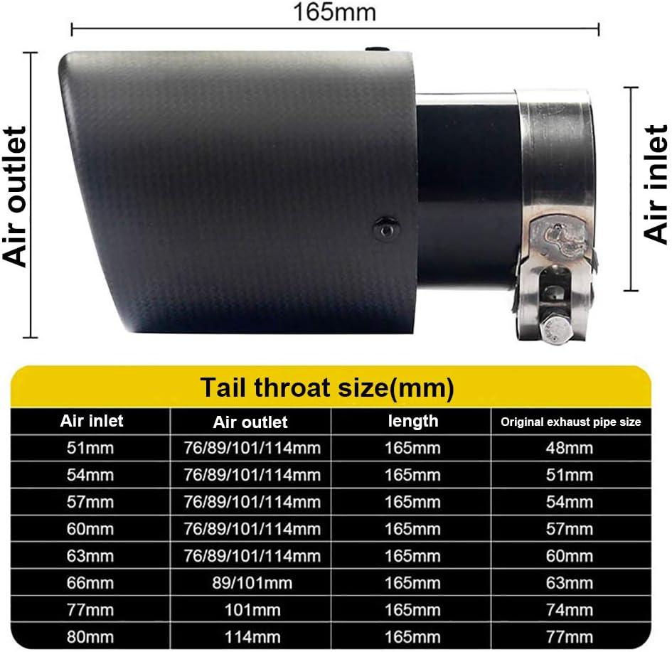 Super-ZS Car Carbon Universal Auspuff Schalld/ämpfer 51-80mm sandgestrahlt schwarzer Edelstahl Auspuff f/ür eine Vielzahl von Automodellen geeignet