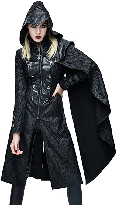 Long Trench Coats for Women with Hood,Womens Steampunk Lace Up Hooded Trench Coat Jacket Blazer Tops Plaid Outwear