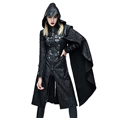 46d94dda6 Amazon.com: Steampunk Womens Gothic Hooded Jacket Coats Ladies Punk ...