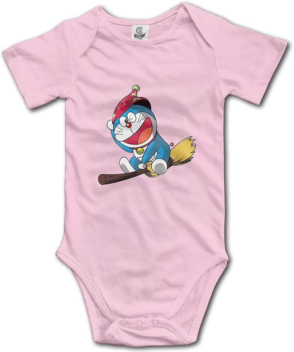 EVE JOHN Doraemon Riding A Magic Broom Infant Romper Breathable Black