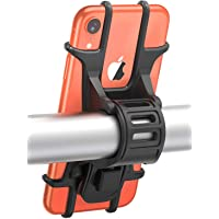 "Bike Phone Mount, Pobon Universal Bicycle Phone Holder, Adjustable Silicone Handlebar Phone Cradle Compatible with iPhone 11 Pro/XR/XS/X/6/7/8 Plus, Samsung Galaxy S20/S10/S10E/S9/S8, 4.7""-6.0"" phones, Ideal for Road Bikes and Motorcycle"