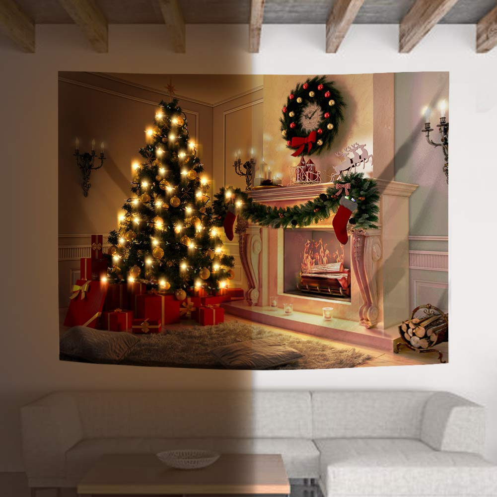 """FHSQX DIY New Year Wall Hanging (M:W 59.1""""×H 51.2"""", Christmas) Tapestry with String Light for Home Decor Fireplace Xmas Gifts"""