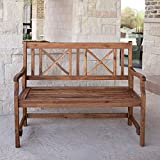 WE Furniture 48'' Acacia Wood Folding Bench - Brown
