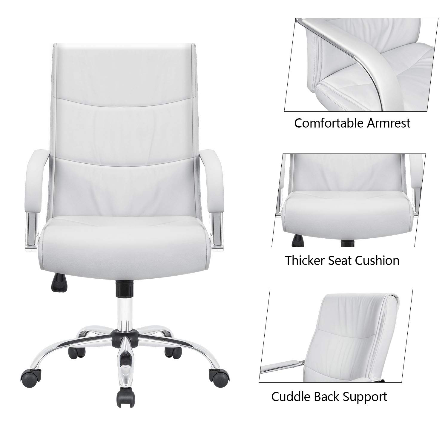 Furmax High Back Office Desk Chair Conference Leather Executive with Padded Armrests,Adjustable Ergonomic Swivel Task Chair with Lumbar Support(White) by Furmax (Image #3)