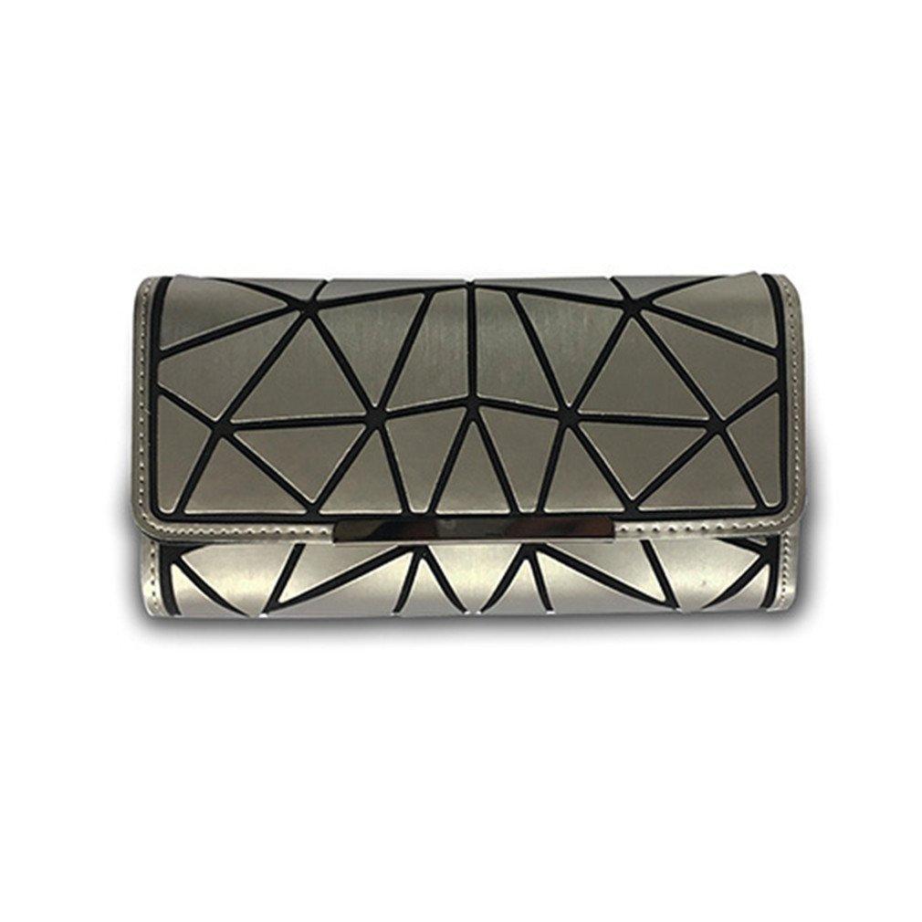 Betrocka Women Long Wallets,Diamond Lattice Long Purse Luminous Wallet silver 2