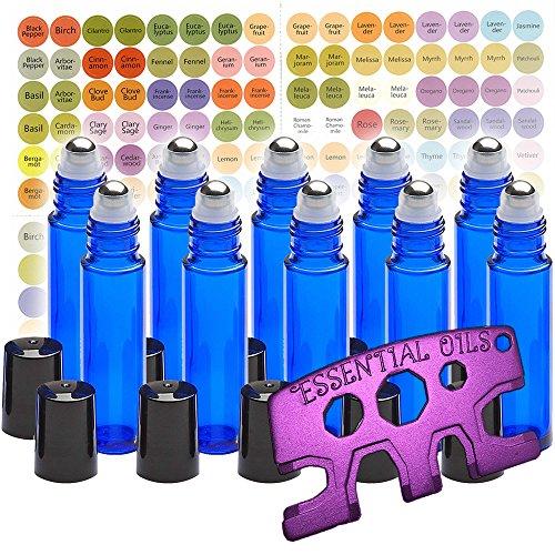 10 Glass Stainless Steel Roller Bottles - 10 Pack Cobalt Blue 10ml - Free Roller Bottle Opener Key Tool & 192 Essential Oil Bottle Cap Sticker Labels ...