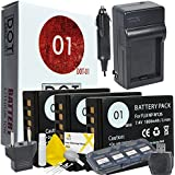 DOT-01 3x Brand Fujifilm X-H1 Batteries and Dual Slot USB Charger for Fujifilm X-H1 Mirrorless and Fujifilm X-H1 Battery and Charger Bundle for Fujifilm NPW126 NP-W126