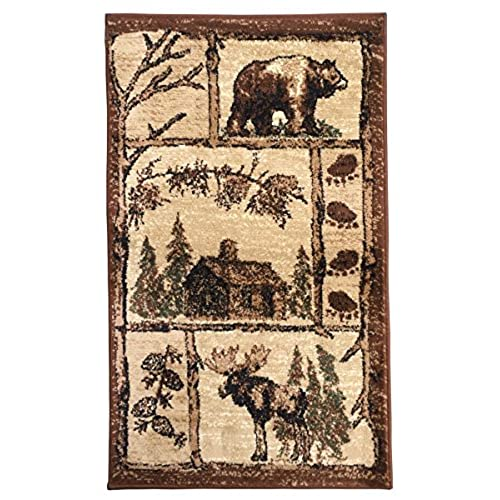 Rugs 4 Less Collection Cabin Style Lodge Door Mat Area Rug Design R4L 362  (2u0027X3u0027)