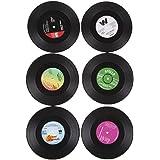 6枚アナログレコードコースター  音楽タイプ ラウンド ヴィンテージ CD ビニール コースター カップ ドリンク ホルダー マット テーブル プレースマット scd