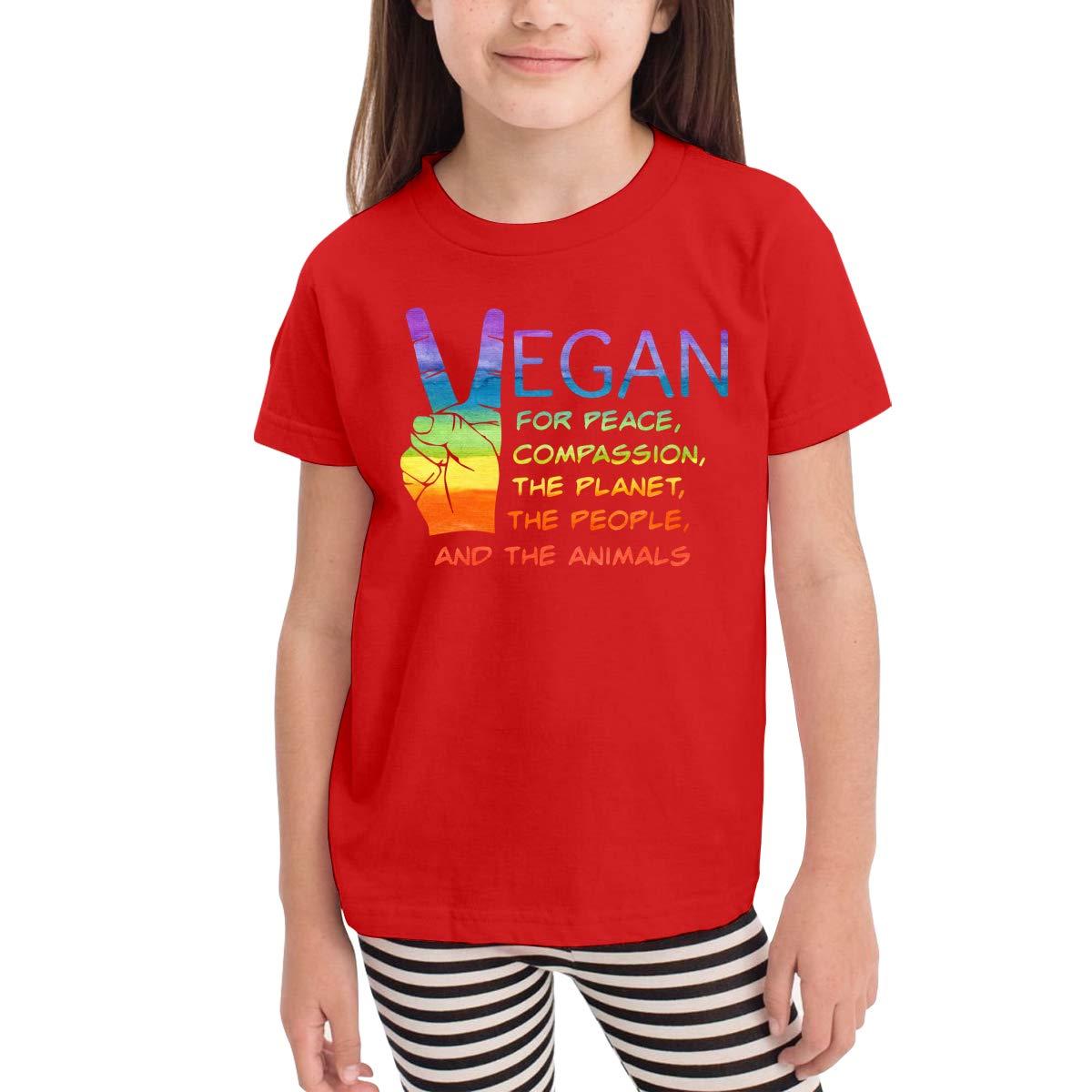 Sally Vegan Unisex Youths Short Sleeve T-Shirt Kids T-Shirt Tops Black