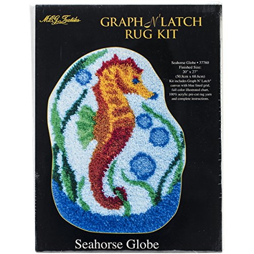 M C G Textiles Latch Hook Kit Shaped, 20-Inch by 27-Inch, Seahorse Globe