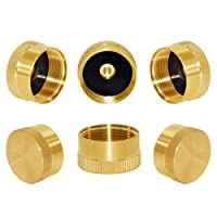 Joywayus 6Pcs Solid Brass Refill Propane Bottle Cap Universal for All 1 LB Gas Tank Cylinder Sealed Protect Cap