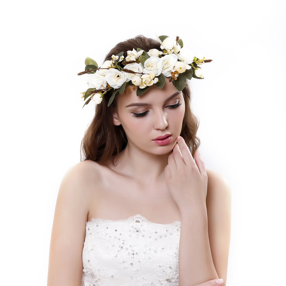 Ever Fairy Flower Crown Headband With Adjustable Ribbon For Women