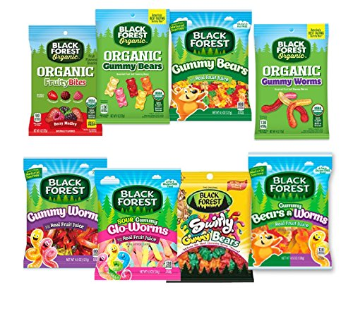 Black Forest Gummy Candy Variety Pack, 8 Flavors 1 Of Each (4.5 Ounces Each). Fat Free, Gluten Free- Featuring Gummy Bears, Gummy Worms, Organic Gummies & More!