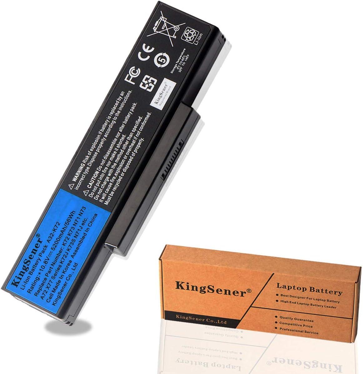 KingSener Korea Cell 5200mAh A32-K72 Laptop Battery for ASUS K72Y K73 K73B K73BR K73BY K73E K73J K73JK K73S K73SD K73SJ K73SM K73SV K73T