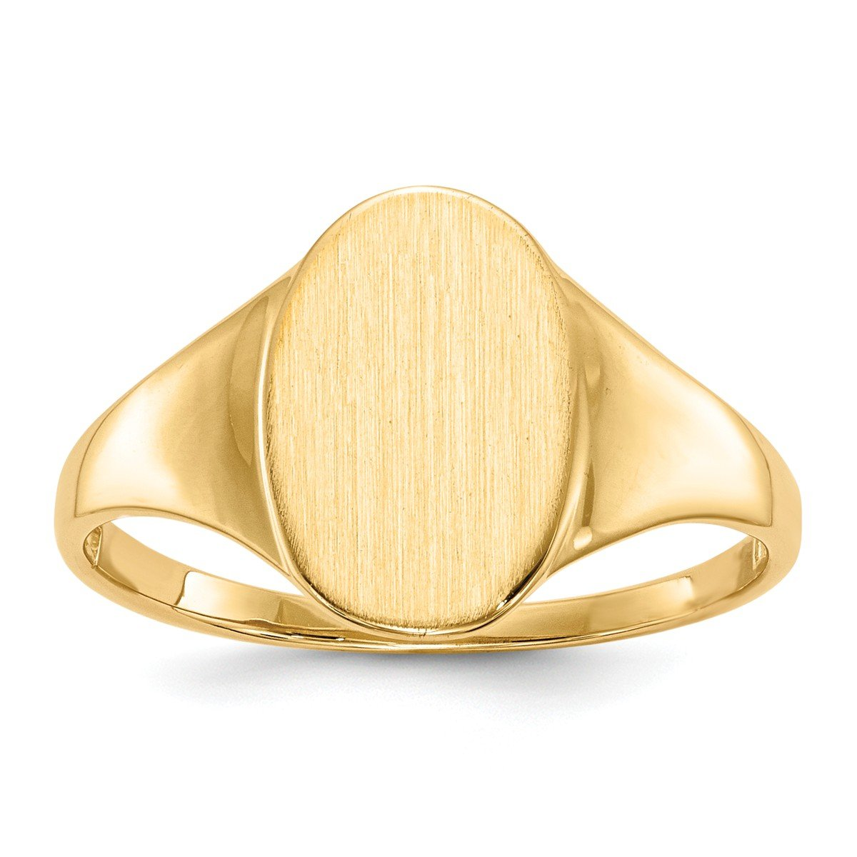 Roy Rose Jewelry 14K Yellow Gold Open Back Mens Womens Signet Ring Custom Personailzed with Free Engraving Available Initial or Monogram ~ Size 6