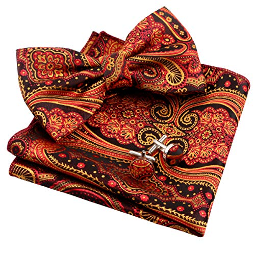 - Alizeal Mens Floral Jacquard Pre-tied Bow Tie, Hanky and Cufflinks Set, Orange+Red