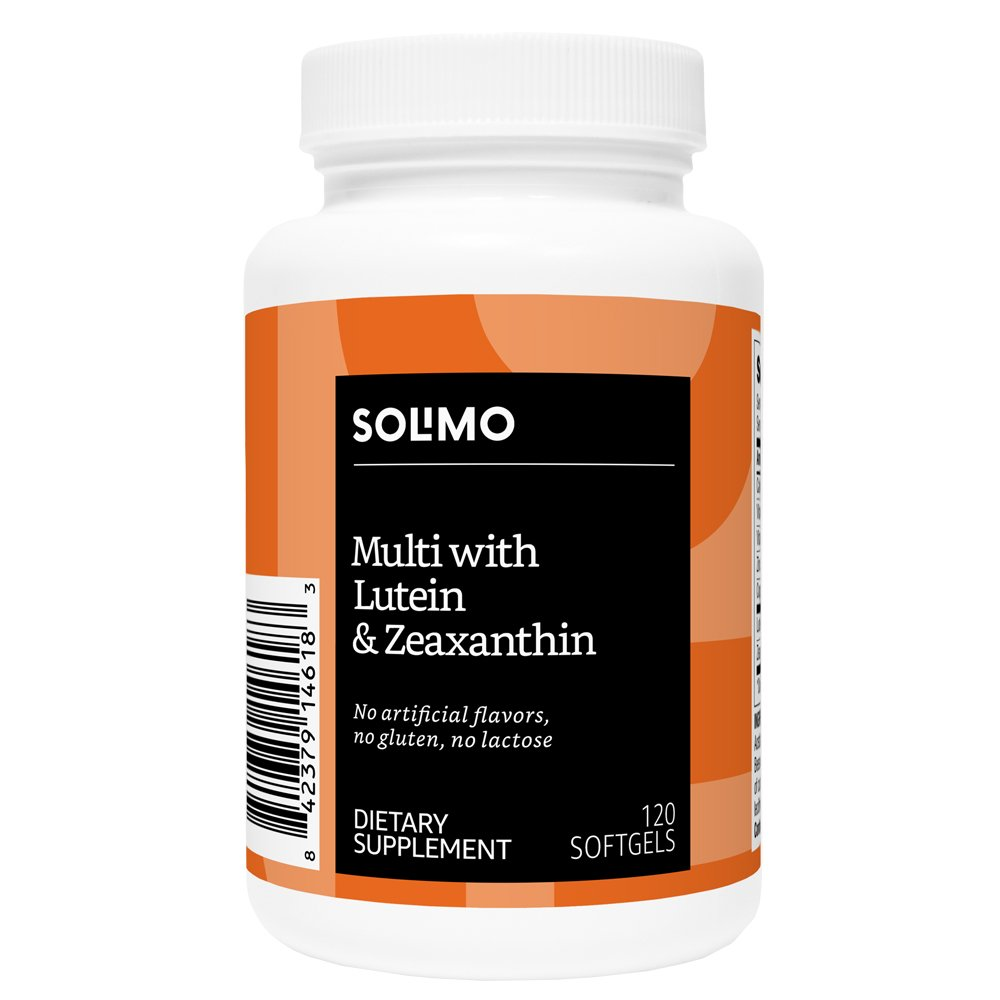 Amazon Brand - Solimo Multi with Lutein 10mg with Zeaxanthin 2mg, 120 Softgels, Two Month Supply