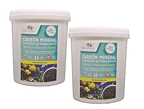 Naturonia Carbon Activado Mineral Acuario, Pellet 4mm, 2L (1000g) para acuarios y