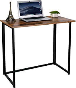 HOMEKOKO Folding Table, Small Foldable Computer Desk, Home Office Laptop Table Writing Desk, Compact Reading Table for Small Space, Modern Simple Study Desk Industrial Style (Rustic Brown)