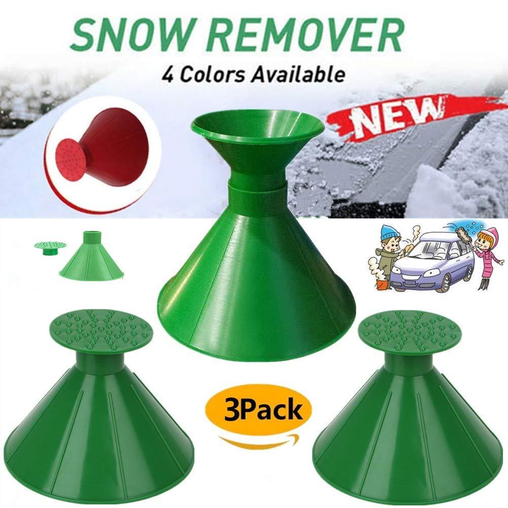 Boscoraggio Magic Scraper Round - Ice Scrapers Magic Funnel Snow Removal Tool Windshield Cone-Shaped Car (Green-3Pack-2) by Boscoraggio