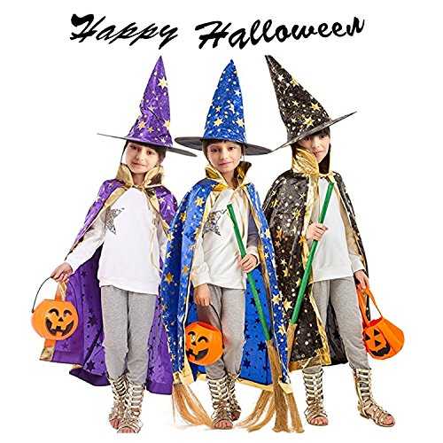 Halloween Costumes Witch Wizard Cloak with Hat for Kids Children Boys Girls Halloween Props Set