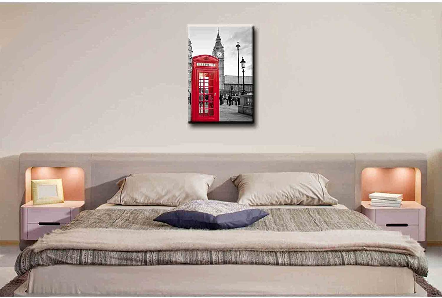 City Landscape Paintings Wall Art Decor a Traditional Red Phone Booth in London With the Big Ben in a Black and White Background Picture Print on Canvas for Modern Home Decoration SmartWallArt