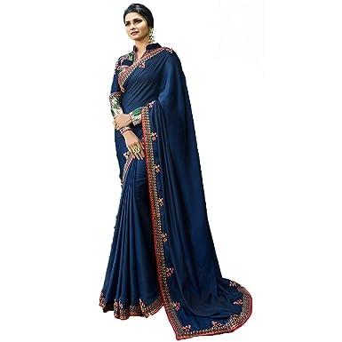 b709ff275e1bb9 Vishwa Art Women's Faux White Rangoli Silk Barfi Embroidered Saree (Dark  Blue)