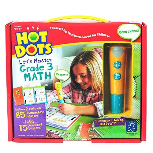 Educational Insights Hot Dots Lets Master Grade 3 Math Set with Hot Dots Pen
