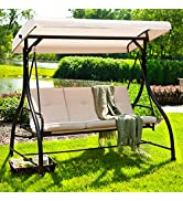 Aoxun Patio Swing Chair with Canopy and Stand - Convertible Daybed Swing, Outdoor Backyard Bench ...