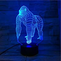 3D Illusie Nachtlampje Dier Orangoetan Gorilla Chimpansee 3D USB LED Lamp 7 Kleuren Veranderende Stemming Illusie Tafel…
