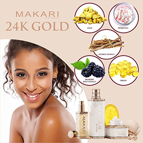 61GulhWRa L - Makari 24K Gold Beauty BODY Milk Lotion - Powerful Anti-Aging Body Lotion w/Real Gold Particles, Omega 3 & Active Probiotics for Wrinkles, Dark Spots & Blemishes - Luxurious Moisturizing Formula