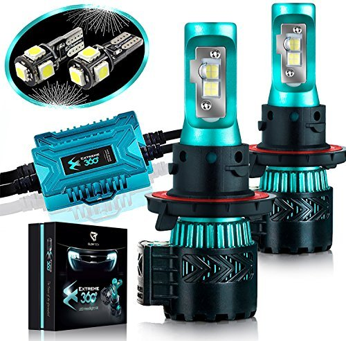 (Glowteck LED Headlight Bulbs Conversion Kit - H13 (9008) Cree XHP50 Chip 12000 Lumens/Pair 68 Watt Cool White 6500 Kelvin 2 Year Warranty)